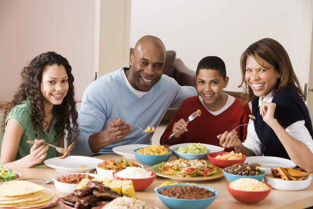 Family eating dinner together
